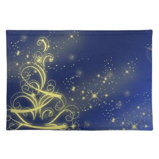 Azul amarillo del árbol de navidad manteles individuales