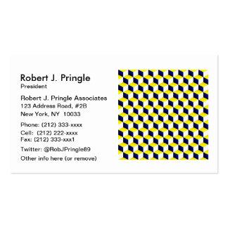 Azul, amarillo, el blanco sombreó los cubos de la plantillas de tarjetas personales