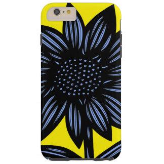 Azul, amarillo, negro, flores, florales funda de iPhone 6 plus tough