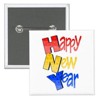 Azul amarillo rojo de la Feliz Año Nuevo Pin