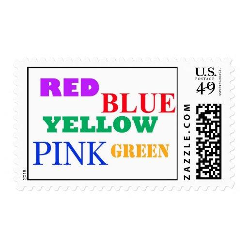 azul amarillo rojo estampillas
