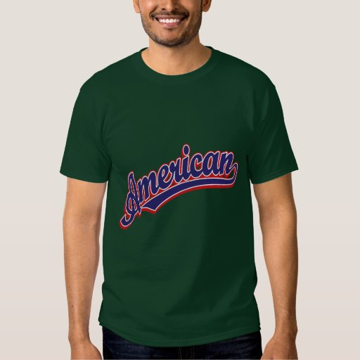 Azul americano del logotipo de la escritura en playeras