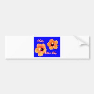 Azul anaranjado BG de madre del hibisco feliz del  Etiqueta De Parachoque
