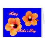 Azul anaranjado BG de madre del hibisco feliz del  Felicitación