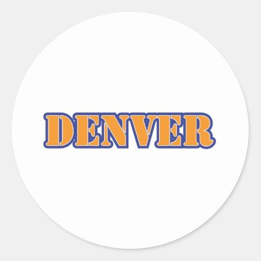 Azul anaranjado de la plantilla de Denver Pegatina Redonda