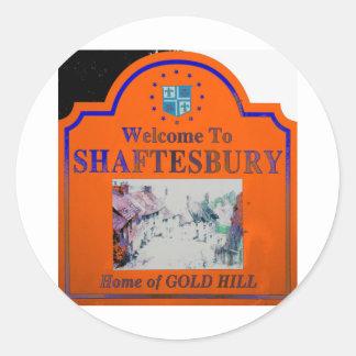 Azul anaranjado de Shaftesbury Pegatina Redonda