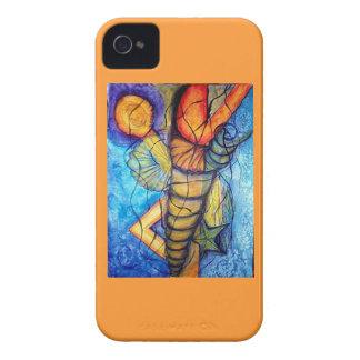 Azul anaranjado del arte abstracto de la fantasía iPhone 4 funda
