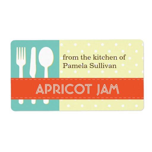Azul anaranjado del utensilio de la cocina de la e etiqueta de envío