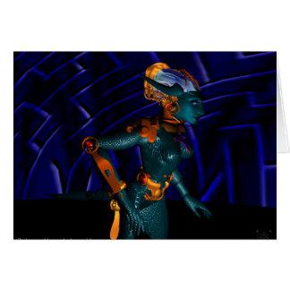 Azul ANDROIDE HÍPER de la ciencia ficción de Tarjeta De Felicitación