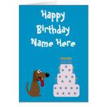 Azul animal lindo de la caridad del cumpleaños del felicitación