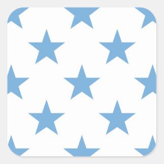 Azul apacible de la estrella 1 pegatina cuadrada