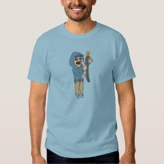 Azul ardiente del dril de algodón de la camiseta remeras