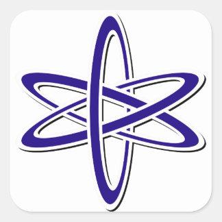 Azul atómico pegatina cuadrada