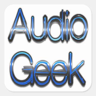 Azul audio del friki pegatina cuadrada