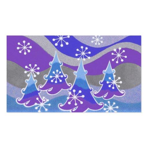 Azul azul de la tarjeta de visita de los árboles d