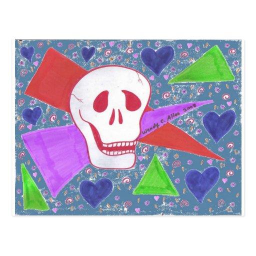 Azul azul del corazón del cráneo gótico postal