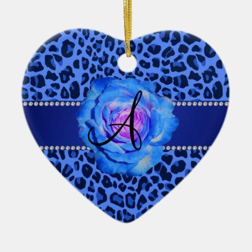 Azul azul del estampado leopardo del monograma ornato