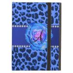 Azul azul del estampado leopardo del monograma sub