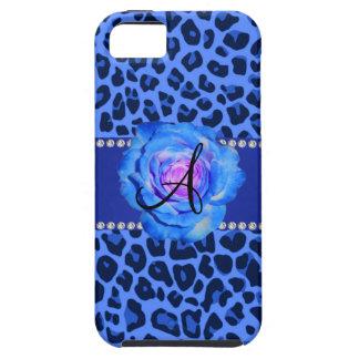 Azul azul del estampado leopardo del monograma sub iPhone 5 coberturas