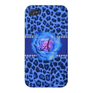 Azul azul del estampado leopardo del monograma sub iPhone 4/4S funda