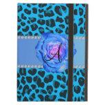 Azul azul del leopardo del monograma subió