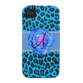 Azul azul del leopardo del monograma subió iPhone 4/4S carcasa