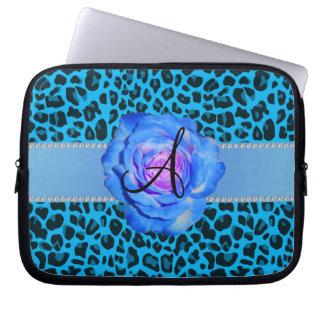 Azul azul del leopardo del monograma subió manga portátil