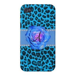 Azul azul del leopardo del monograma subió iPhone 4 cárcasas
