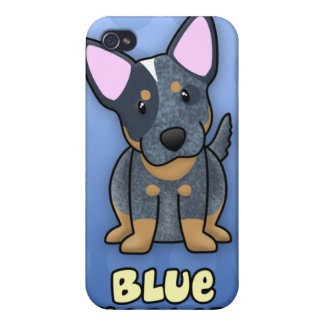 Azul azul Heeler del dibujo animado iPhone 4 Coberturas