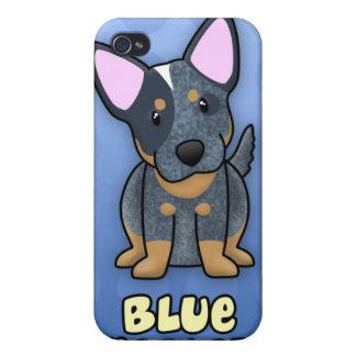 Azul azul Heeler del dibujo animado iPhone 4 Funda