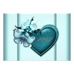 Azul azul RSVP del trullo de la mariposa del coraz Invitación