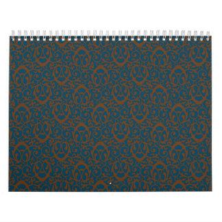 Azul barroco del marrón del modelo calendarios
