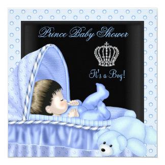 """Azul Bassinette del muchacho del príncipe fiesta Invitación 5.25"""" X 5.25"""""""