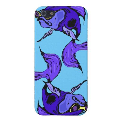 azul beta de la púrpura real de los pescados de Be iPhone 5 Funda