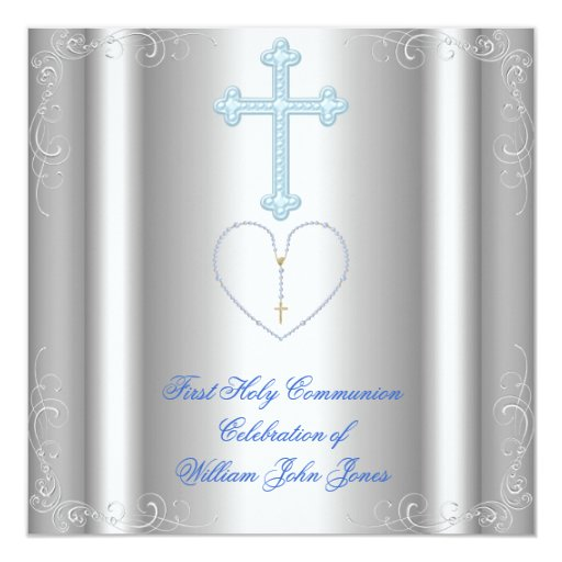 Azul blanco de la primera plata de la comunión comunicados personales