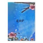 Azul blanco de la tarjeta de RSVP Invitación Personalizada
