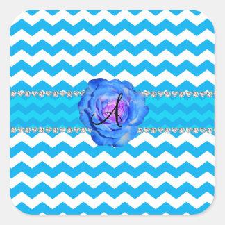 Azul blanco de los galones del azul de cielo del pegatina cuadrada