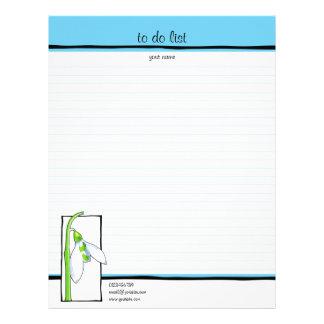 Azul blanco de Snowdrop para hacer la lista Membrete Personalizado