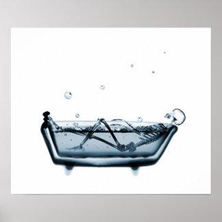 Azul blanco del baño esquelético de la radiografía poster
