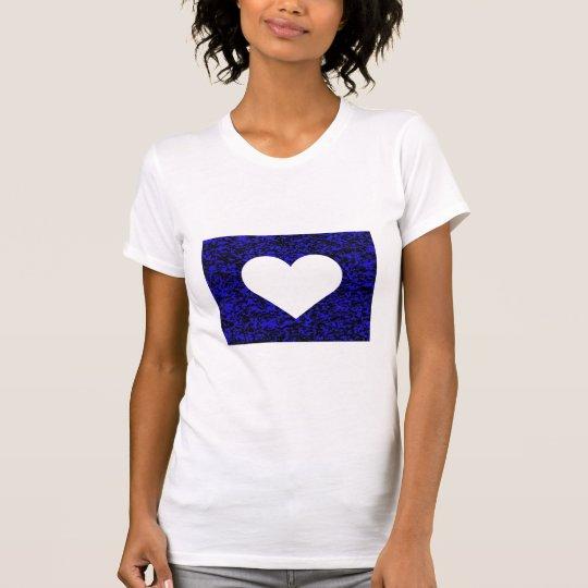 Azul blanco del corazón playera