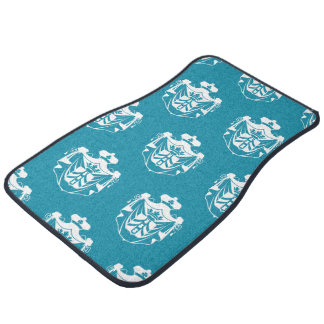 Azul blanco del escudo de la familia alfombrilla de auto