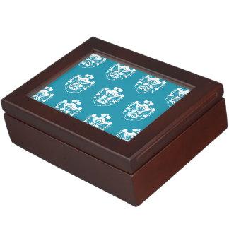 Azul blanco del escudo de la familia cajas de recuerdos