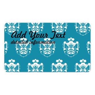 Azul blanco del escudo de la familia tarjetas de visita