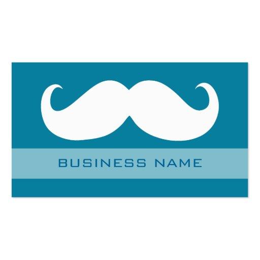 Azul blanco divertido del bigote y del llano tarjetas de visita