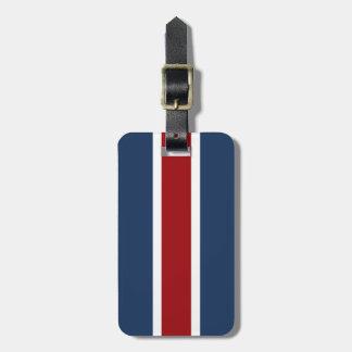Azul blanco rojo británico de la raya que compite etiquetas para maletas