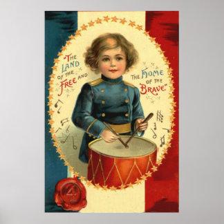 Azul blanco rojo de la estrella del muchacho del póster