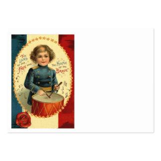 Azul blanco rojo de la estrella del muchacho del tarjetas de visita grandes