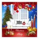 Azul blanco rojo de la fiesta de Navidad Invitación 13,3 Cm X 13,3cm
