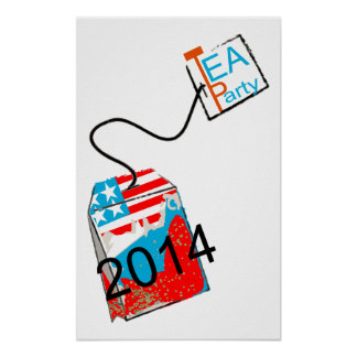 Azul blanco rojo de la fiesta del té 2014