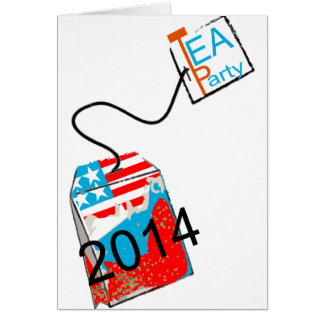Azul blanco rojo de la fiesta del té 2014 tarjeta de felicitación